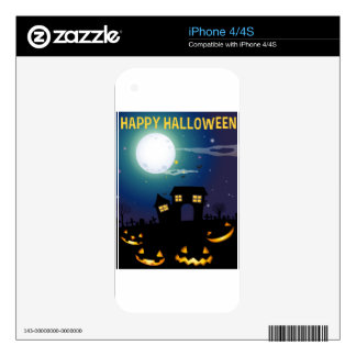 Halloween theme with haunted house and faces iPhone 4 decal