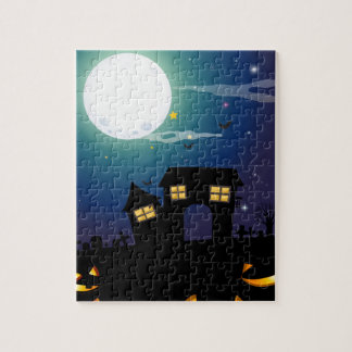 Halloween theme with haunted house and faces puzzle