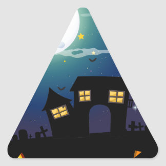 Halloween theme with haunted house and faces triangle sticker