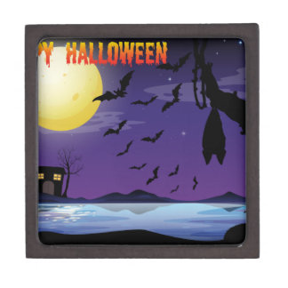 Halloween theme with lake and bat flying jewelry box