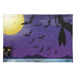 Halloween theme with lake and bat flying placemat