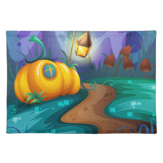 Halloween theme with pumpkin in the field cloth placemat