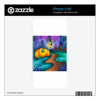 Halloween theme with pumpkin in the field decal for iPhone 4