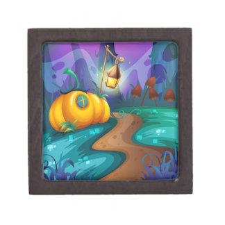 Halloween theme with pumpkin in the field keepsake box