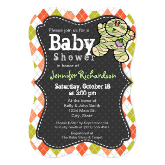 Halloween themed Argyle Baby Shower Invitation