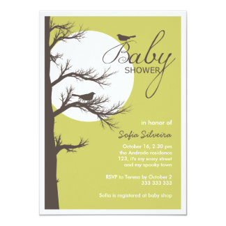Halloween Themed Baby Shower Bird Tree Silhouette Card