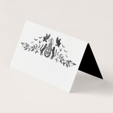 Halloween Themed Halloween Themed Gothic Wedding Folded Place Card