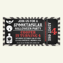 Halloween Ticket Birthday Invitation Photocard