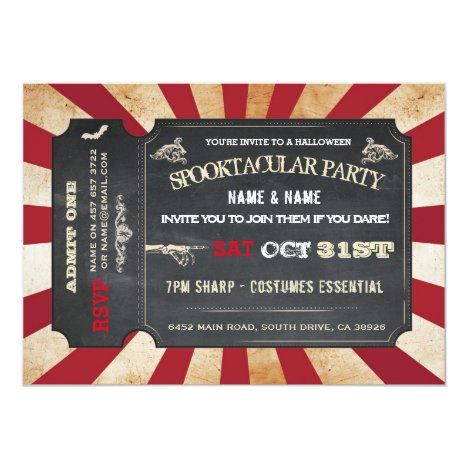Halloween Ticket Party Invitation Circus Scare