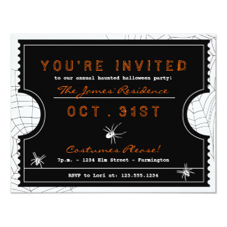 Halloween Ticket with Spider Web Party Invitation