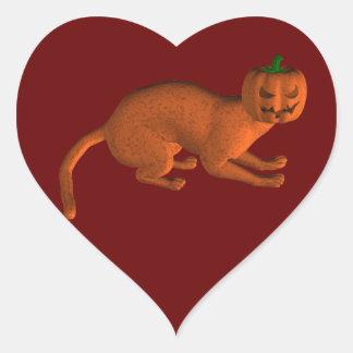 Halloween Tiger Cat Heart Sticker
