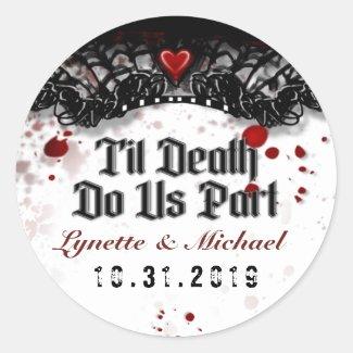 Halloween Til Death Blood Splatter Wedding Label