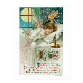 Halloween Time Fairies Around Sleeping Woman Postcard