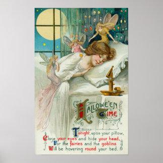 Halloween Time Fairies Around Sleeping Woman Poster