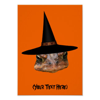 Halloween Toad Face Witch Hat Personalized Poster