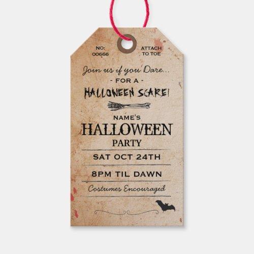 Halloween Toe Tag Party Invitation Morgue Horror