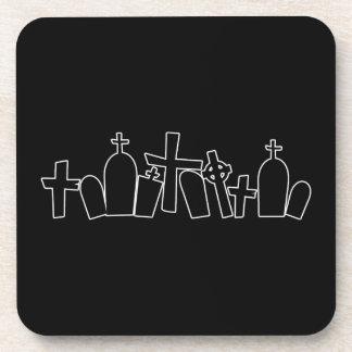 Halloween tombs figure beverage coasters