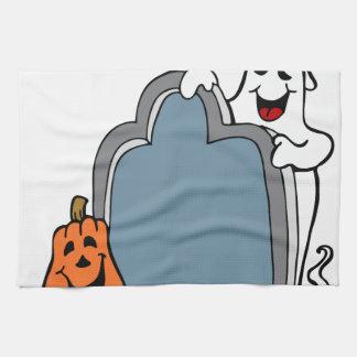 Halloween Tombstone Ghost and Pumpkin Hand Towels