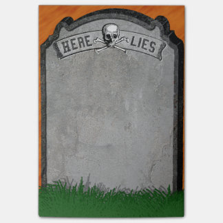 Halloween Tombstone Grave Skull Crossbones Post-it Notes
