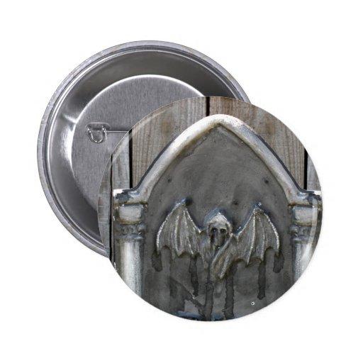 Halloween Tombstone RIP Bat Pinback Button