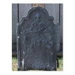 Halloween Tombstone RIP Skull Postcard