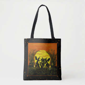 Halloween tote bag, fairy,witch,tea,party