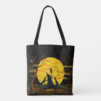Halloween tote bag,witch,black,cats,moon,bats