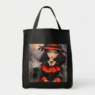 Halloween Tote Bag Witch Cat Art