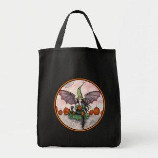 Halloween Tote Bag Witch Vampire Bats