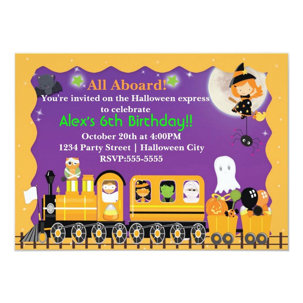 Halloween Train Fun Kids Costume Party Invitation