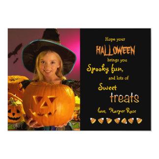 "Halloween trata la tarjeta de la foto invitación 5"" x 7"""