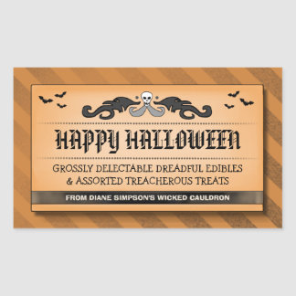 Halloween Treat or Drink Black & Orange Label Rectangular Sticker