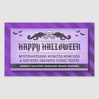 Halloween Treat or Drink Black & Purple Label Rectangular Sticker
