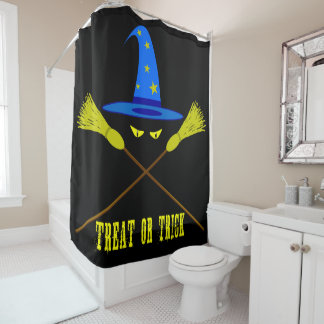 Halloween Treat Or Trick Black Shower Curtain