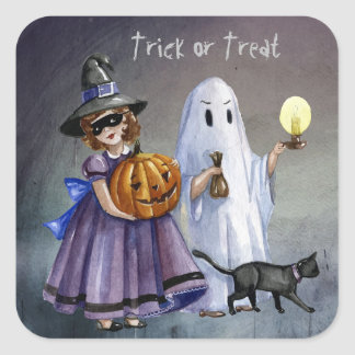 Halloween Treaters pintado a mano - personalizar Pegatina Cuadrada