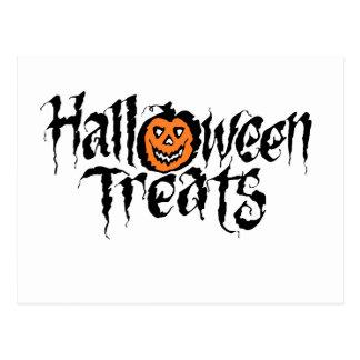 halloween treats black postcard