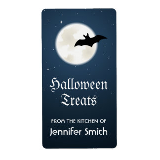 Halloween treats kitchen label with moon and bat