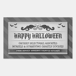 Halloween Treats or Drink Black & Grey Label Rectangular Sticker
