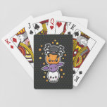 "Halloween Treats playing cards<br><div class=""desc"">Playing cards with a cute halloween design of a skull,  pumpkin,  bat,  and spider.</div>"