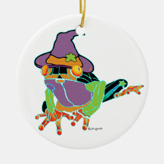 Halloween Tree Frog T Shirts and Gifts Double-Sided Ceramic Round Christmas Ornament