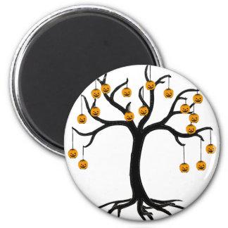 Halloween Tree Jackolanterns 2 Inch Round Magnet