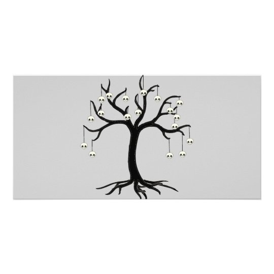 Halloween Tree with Cute Skull Ornaments Card