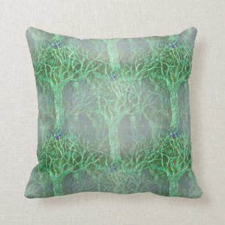 Halloween Trees on Throw Pillow