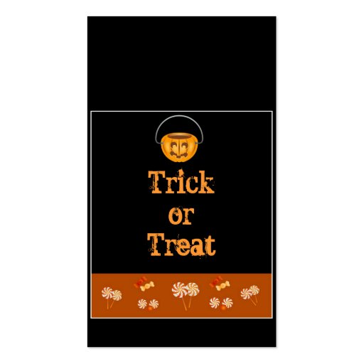 Halloween trick or treat bag cards business card zazzle for Business card tricks