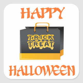 Halloween Trick or Treat Bag Square Sticker