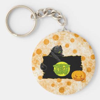 Halloween trick or treat basic round button keychain