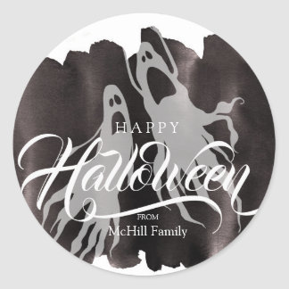 Halloween Trick or Treat Calligraphy Lettering Classic Round Sticker
