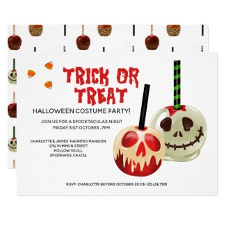 Halloween Trick or Treat Candy Skull Invitation