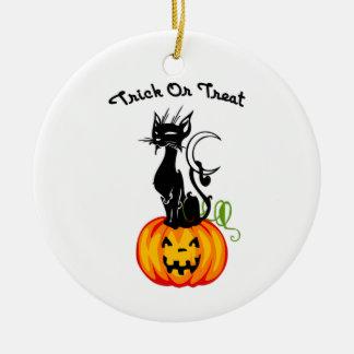Halloween Trick or Treat Cat Ceramic Ornament