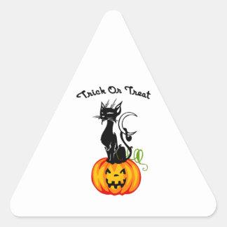 Halloween Trick or Treat Cat Triangle Sticker